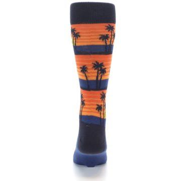 Image of Blue Orange Palm Trees Men's Dress Socks (back-18)
