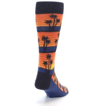 Image of Blue Orange Palm Trees Men's Dress Socks (side-1-back-20)