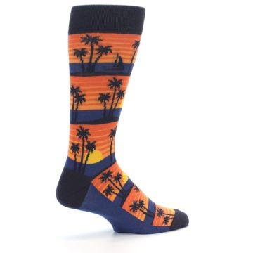 Image of Blue Orange Palm Trees Men's Dress Socks (side-1-23)