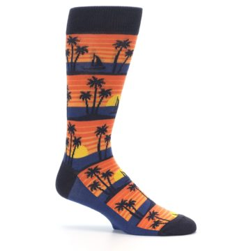 Image of Blue Orange Palm Trees Men's Dress Socks (side-1-25)