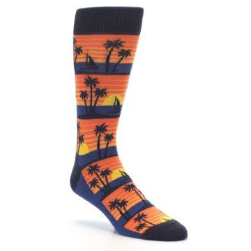 Image of Blue Orange Palm Trees Men's Dress Socks (side-1-27)
