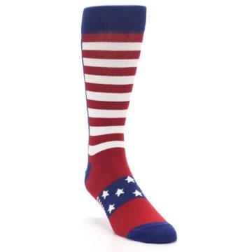 Image of Red Blue American Flag Men's Dress Socks (side-1-front-02)