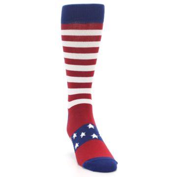 Image of Red Blue American Flag Men's Dress Socks (side-1-front-03)