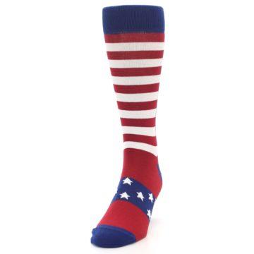 Image of Red Blue American Flag Men's Dress Socks (side-2-front-06)