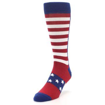 Image of Red Blue American Flag Men's Dress Socks (side-2-front-07)