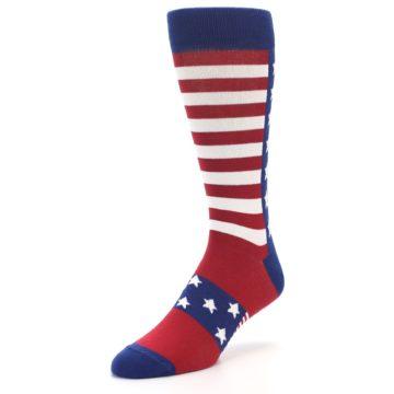 Image of Red Blue American Flag Men's Dress Socks (side-2-front-08)