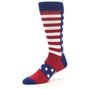 Image of Red Blue American Flag Men's Dress Socks (side-2-09)