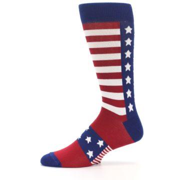 Image of Red Blue American Flag Men's Dress Socks (side-2-11)
