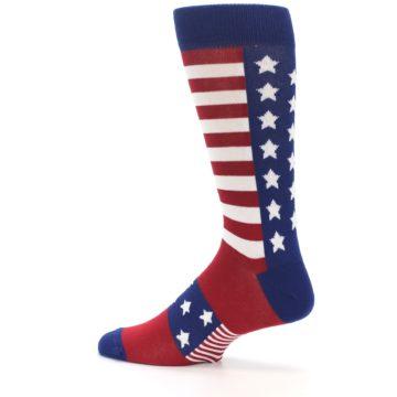 Image of Red Blue American Flag Men's Dress Socks (side-2-13)