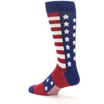 Image of Red Blue American Flag Men's Dress Socks (side-2-back-14)