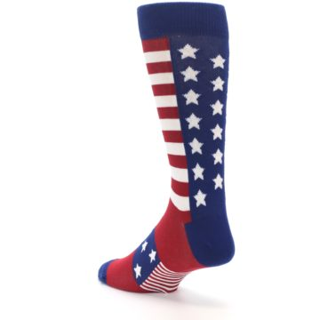 Image of Red Blue American Flag Men's Dress Socks (side-2-back-15)