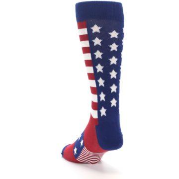 Image of Red Blue American Flag Men's Dress Socks (side-2-back-16)