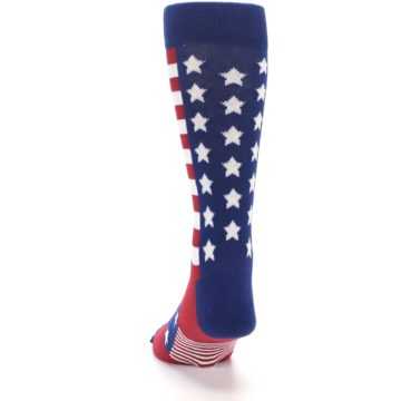 Image of Red Blue American Flag Men's Dress Socks (back-17)