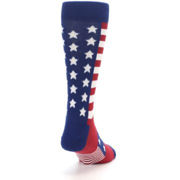 Image of Red Blue American Flag Men's Dress Socks (side-1-back-20)