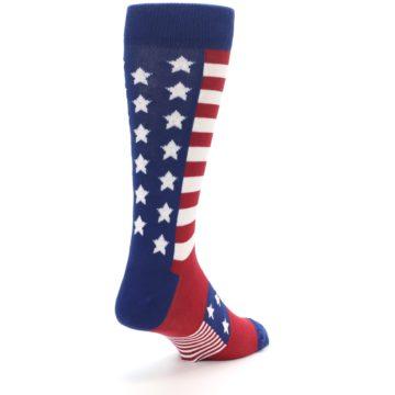 Image of Red Blue American Flag Men's Dress Socks (side-1-back-21)