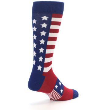Image of Red Blue American Flag Men's Dress Socks (side-1-back-22)