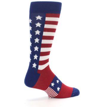 Image of Red Blue American Flag Men's Dress Socks (side-1-23)