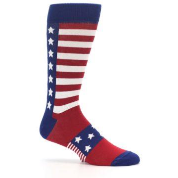 Image of Red Blue American Flag Men's Dress Socks (side-1-25)