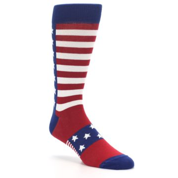 Image of Red Blue American Flag Men's Dress Socks (side-1-27)