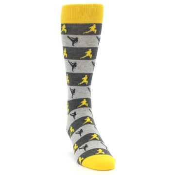 Image of Grey Yellow Karate Men's Dress Socks (side-1-front-03)
