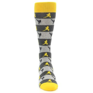 Image of Grey Yellow Karate Men's Dress Socks (front-04)