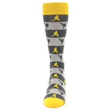 Image of Grey Yellow Karate Men's Dress Socks (front-05)