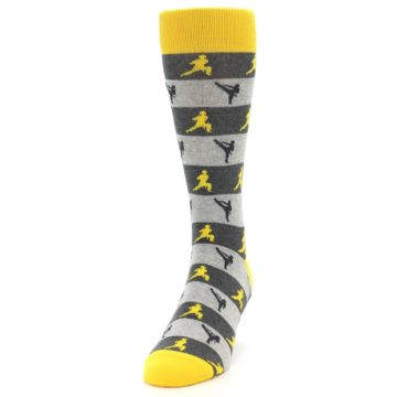Image of Grey Yellow Karate Men's Dress Socks (side-2-front-06)