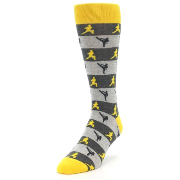 Image of Grey Yellow Karate Men's Dress Socks (side-2-front-07)