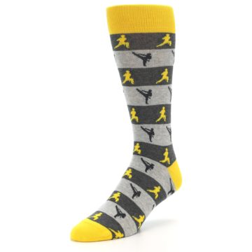Image of Grey Yellow Karate Men's Dress Socks (side-2-front-08)