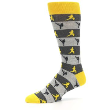 Image of Grey Yellow Karate Men's Dress Socks (side-2-10)