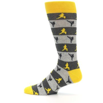 Image of Grey Yellow Karate Men's Dress Socks (side-2-12)