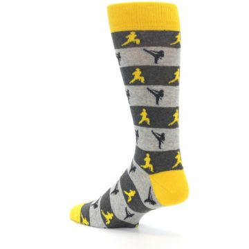 Image of Grey Yellow Karate Men's Dress Socks (side-2-back-14)