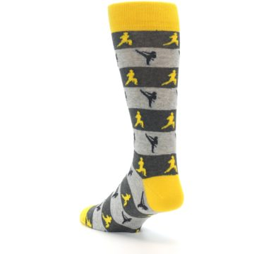 Image of Grey Yellow Karate Men's Dress Socks (side-2-back-15)
