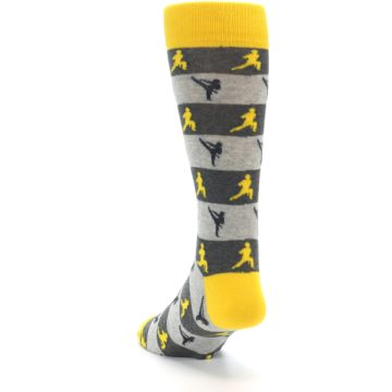 Image of Grey Yellow Karate Men's Dress Socks (side-2-back-16)