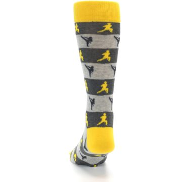 Image of Grey Yellow Karate Men's Dress Socks (back-17)