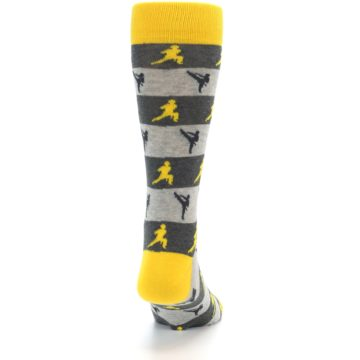 Image of Grey Yellow Karate Men's Dress Socks (back-19)