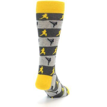 Image of Grey Yellow Karate Men's Dress Socks (side-1-back-20)