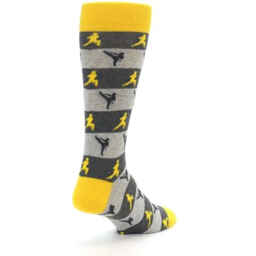 Image of Grey Yellow Karate Men's Dress Socks (side-1-back-21)
