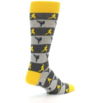 Image of Grey Yellow Karate Men's Dress Socks (side-1-back-22)