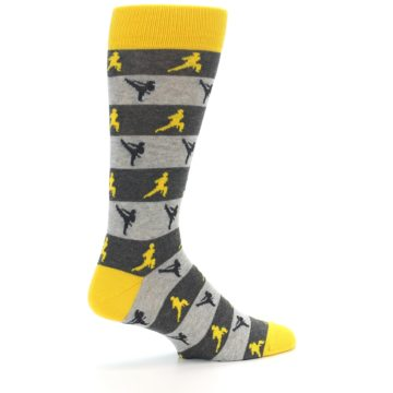 Image of Grey Yellow Karate Men's Dress Socks (side-1-23)
