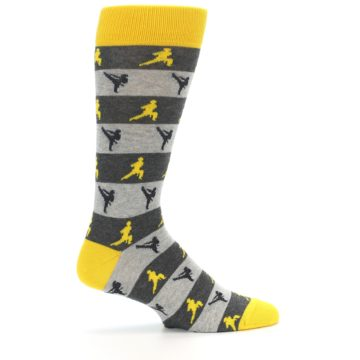 Image of Grey Yellow Karate Men's Dress Socks (side-1-24)