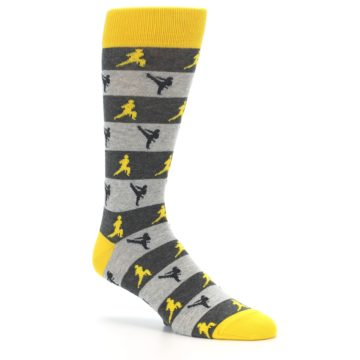 Image of Grey Yellow Karate Men's Dress Socks (side-1-26)