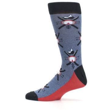 Image of Blue Red Skiing Men's Dress Socks (side-2-12)