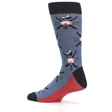 Image of Blue Red Skiing Men's Dress Socks (side-2-13)