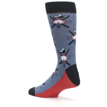 Image of Blue Red Skiing Men's Dress Socks (side-2-back-14)