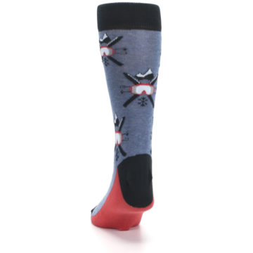 Image of Blue Red Skiing Men's Dress Socks (back-17)