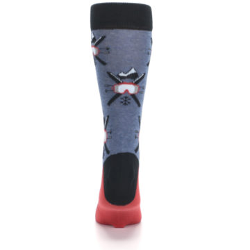 Image of Blue Red Skiing Men's Dress Socks (back-18)