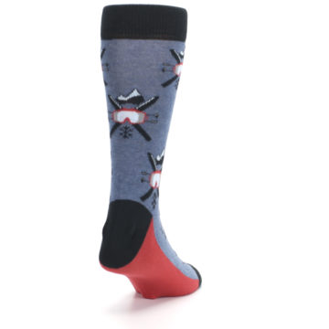 Image of Blue Red Skiing Men's Dress Socks (side-1-back-20)