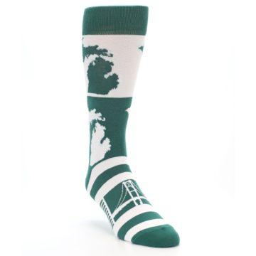 Image of Green White Michigan Men's Dress Socks (side-1-front-02)
