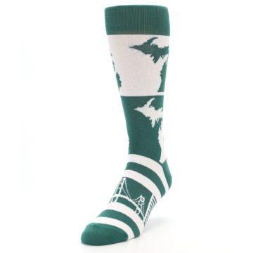Image of Green White Michigan Men's Dress Socks (side-2-front-07)